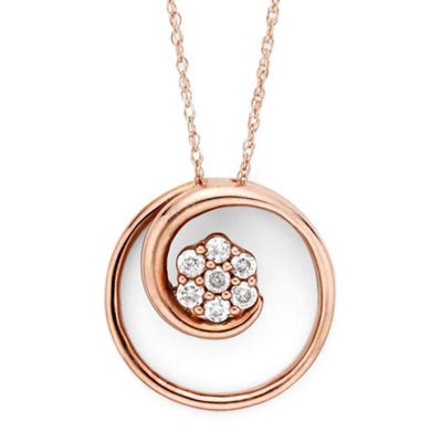 diamond blossom 1/6 CT. T.W. Diamond 10K Rose Gold Swirl Pendant Necklace
