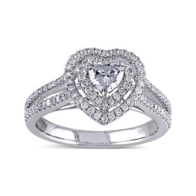 3/4 CT. T.W. Diamond 14K White Gold Heart Ring