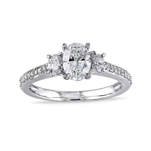 1-1/10 CT. T.W. Diamond 14K White Gold 3-Stone Oval Ring