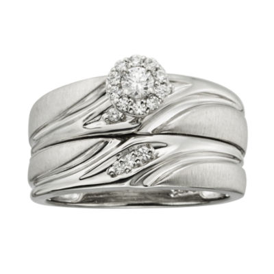 1/4 CT. T.W. Diamond Platina 4 Bridal Ring Set
