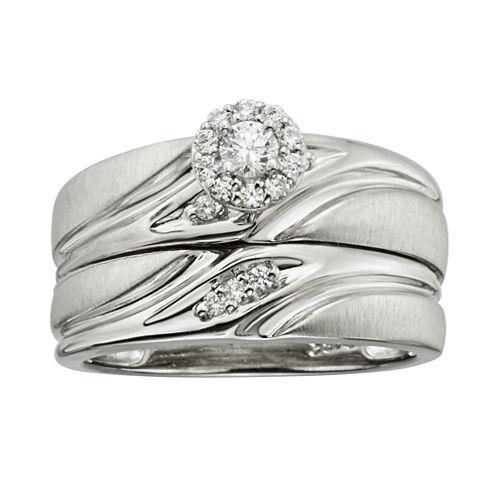 1/4 CT. T.W. Diamond Platina 4 Bridal Ring Set