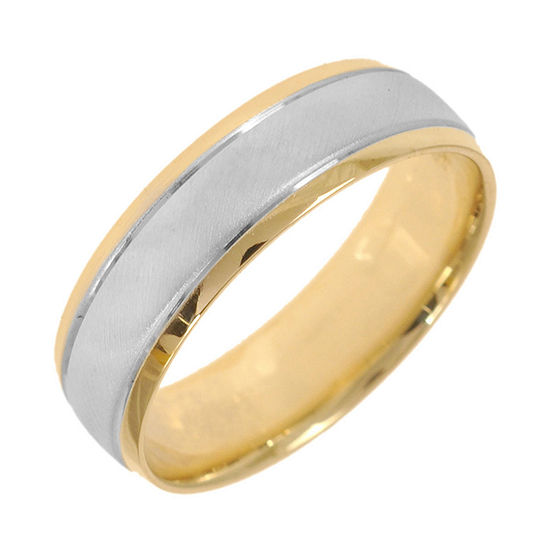 10K Two-Tone Gold Womens Polished & Matte 5mm Wedding Band