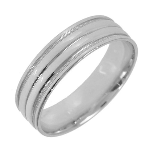 10K White Gold Womens Milgrain 5mm Wedding Band