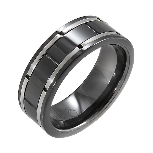 Black Ceramic & Brushed Stainless Steel Inlay Band