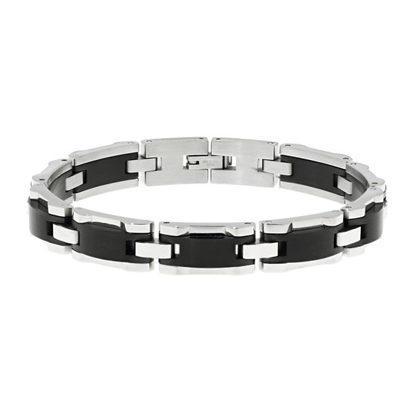 Mens Black Ceramic & Stainless Steel & Black IP Link Bracelet