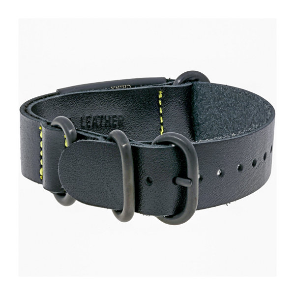 Mens Leather & Stainless Steel & Black IP ID Bracelet