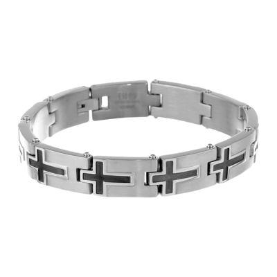 Mens Stainless Steel & Black IP Cross Link Bracelet