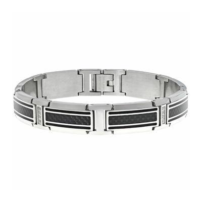 Mens Cubic Zirconia Stainless Steel & Carbon Fiber Link Bracelet