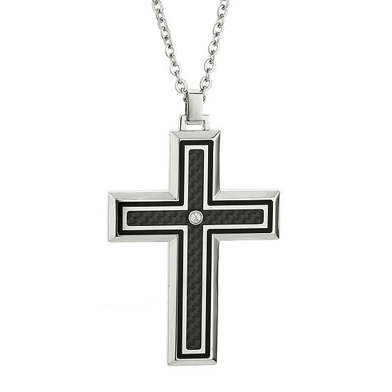 Mens Crystal Stainless Steel Carbon Fiber Cross Pendant Necklace