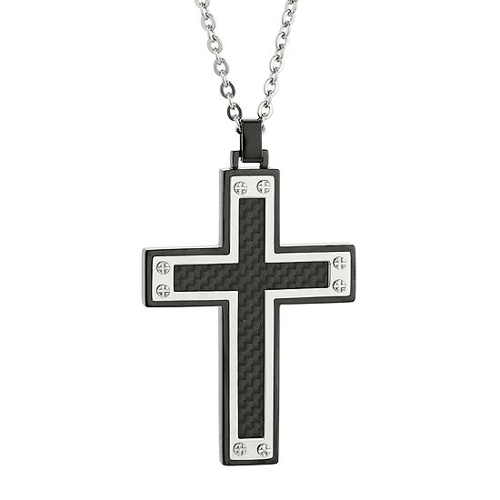 Mens Stainless Steel & Black IP w/Carbon Fiber Inlay Cross Pendant Necklace