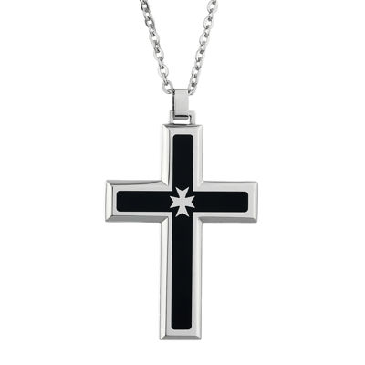 Mens Cubic Zirconia Stainless Steel & Black Resin Cross Pendant Necklace