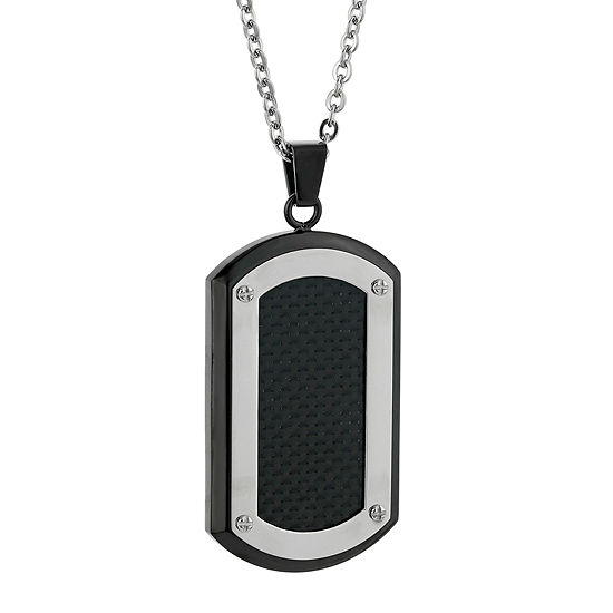 Mens Stainless Steel & Black IP w/Carbon Fiber Dog Tag Pendant Necklace