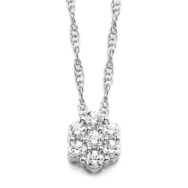 diamond blossom 1/5 CT. T.W. Diamond Sterling Silver Cluster Pendant