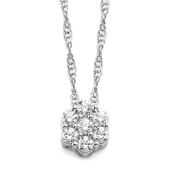 Diamond Blossom 1 5 Ct Tw Diamond Sterling Silver Cluster Pendant