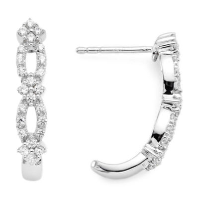 diamond blossom 3/8 CT. T.W. Diamond Sterling Silver Hoop Earrings