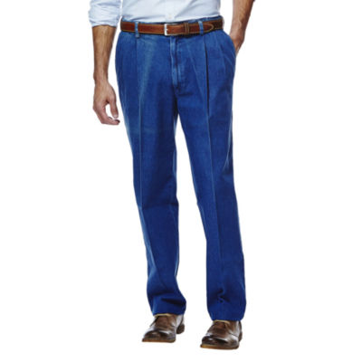 Haggar® Work to Weekend® Classic-Fit Pleated Denim Pants