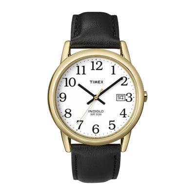 Timex® Easy Reader Mens Black Leather Strap Watch T2H2919J
