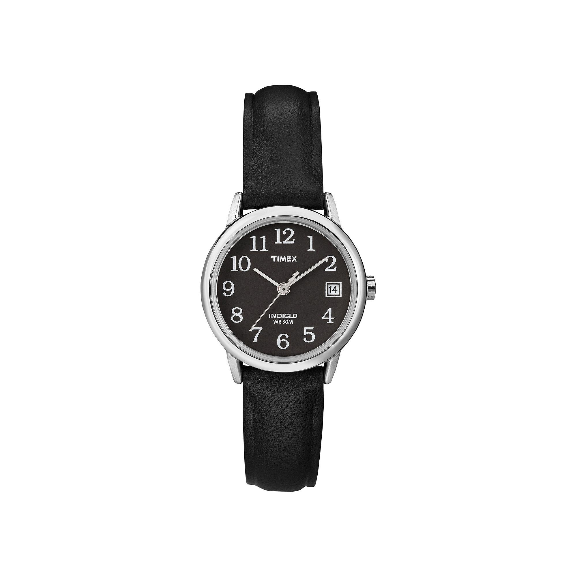 Timex Easy Reader Womens Black Leather Strap Watch T2N5259J