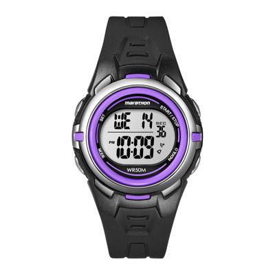 Marathon by Timex® Womens Black Resin Strap Digital Watch T5K364M6