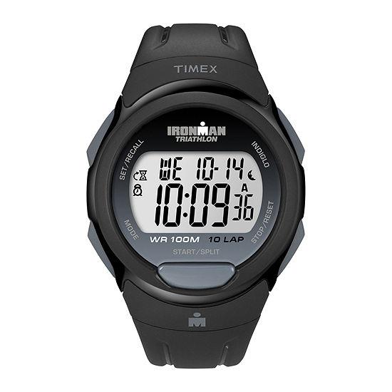 Timex® Mens Black Resin Strap 10-Lap Watch T5K6089J