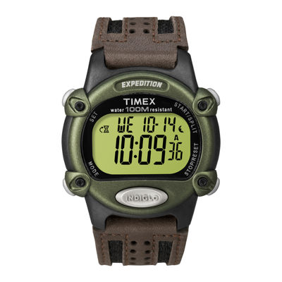 Timex® Expedition® Mens Brown Leather Strap Digital Watch T480429J