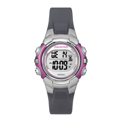 Marathon by Timex® Womens Gray Resin Strap Digital Watch T5K646M6