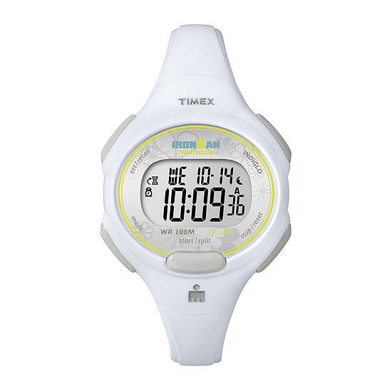 Timex® Womens White Resin Strap 10-Lap Watch T5K6069J