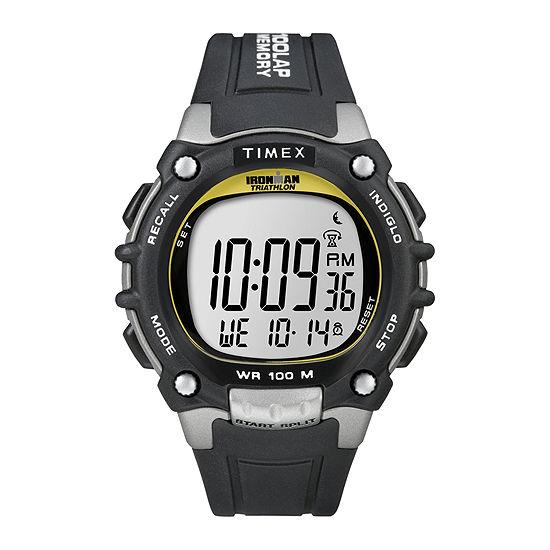 Timex® Ironman Mens Black Resin Strap 100-Lap Watch T5E2319J