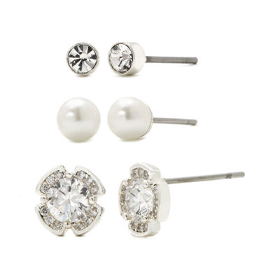 Sparkle Allure™ 3-pr. Cubic Zirconia and Simulated Pearl Flower Stud Earrings
