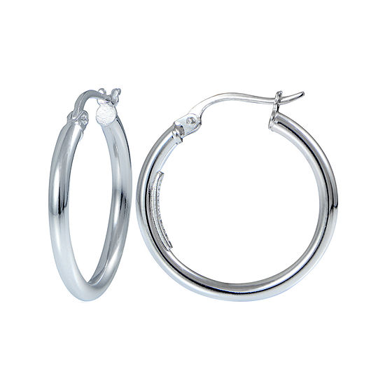 Sterling Silver 20mm Tube Hoop Earrings
