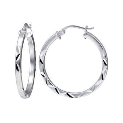 Sterling Silver 25mm Diamond-Cut Square Tube Hoop Earrings