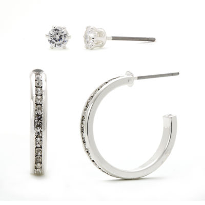 Sparkle Allure™ Crystal Silver-Plated Brass Hoop and Stud Earring Set