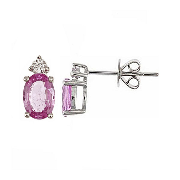 LIMITED QUANTITIES  Genuine Pink Sapphire and Diamond-Accent Earrings