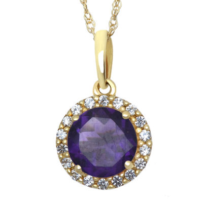 Genuine Amethyst and Lab-Created White Sapphire Halo Pendant Necklace
