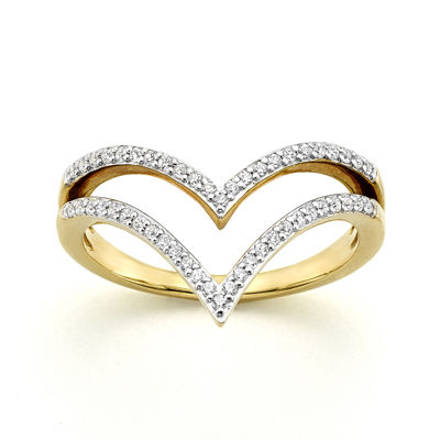 1/4 CT. T.W. Diamond 10K Yellow Gold Two-Row Chevron Ring