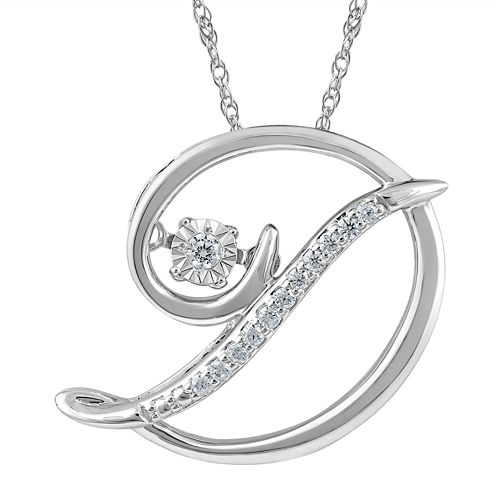 "Love in Motion™ Diamond-Accent  Sterling Silver ""D"" Pendant Necklace"