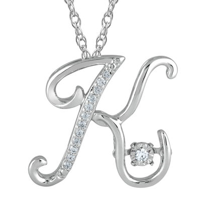 "Love in Motion™ Diamond-Accent  Sterling Silver ""K"" Pendant Necklace"