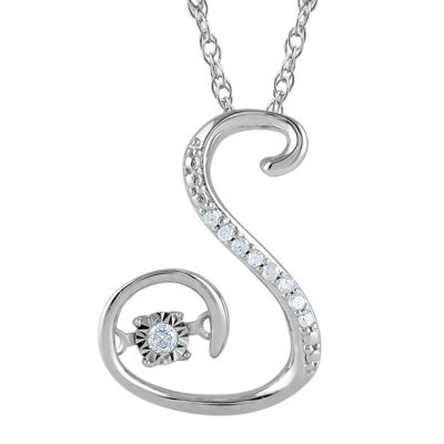 "Love in Motion™ Diamond-Accent Sterling Silver ""S"" Pendant Necklace"