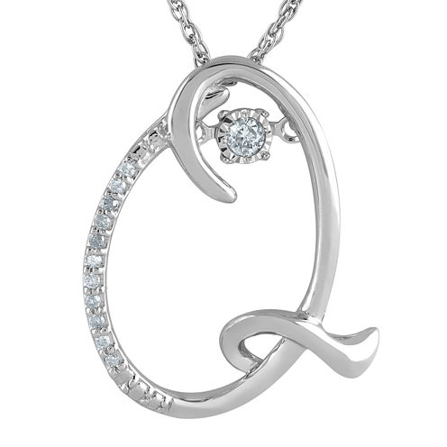 """Love in Motion™ Diamond-Accent Sterling Silver """"Q"""" Pendant Necklace"""