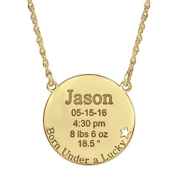 Personalized Born Under a Lucky Star Birth Necklace