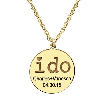 "Personalized ""I Do"" Couples Pendant Necklace"