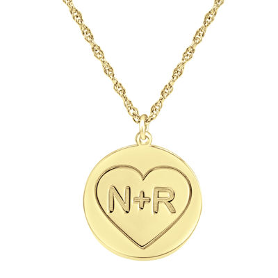 Personalized Couples Engraved Initial Pendant Necklace