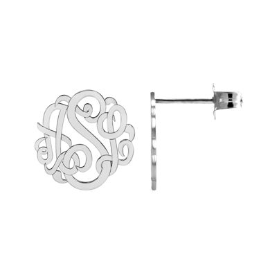 Personalized 10mm Script Monogram Earrings