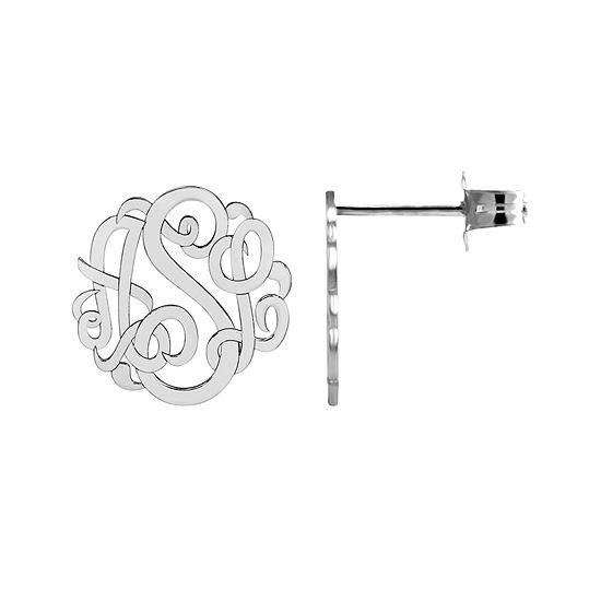 Personalized 10mm Script Monogram Earrings
