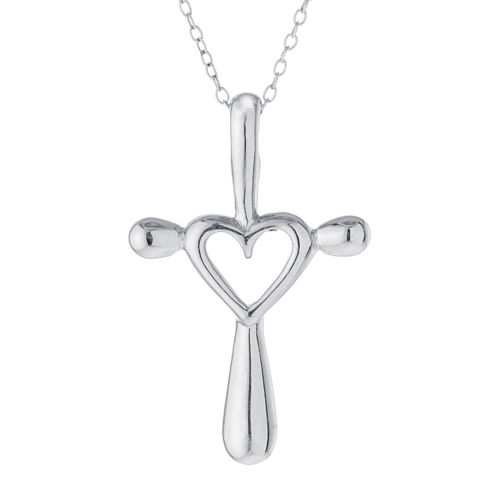 Sterling Silver Open Heart Cross Pendant Necklace