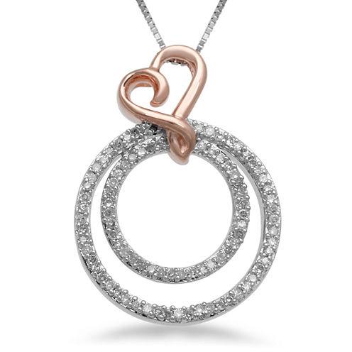 Hallmark Diamonds 1/4 CT. T.W. Diamond Circle Heart Pendant Necklace