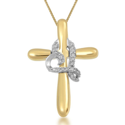 Hallmark Diamonds 1/10 CT. T.W. Diamond Two-Tone Cross Pendant Necklace