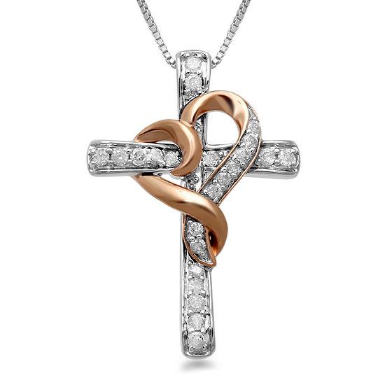 Hallmark Diamonds 1/4 CT. T.W. Genuine Diamond 14K Rose Gold over Silver & Sterling Silver Cross Pendant Necklace