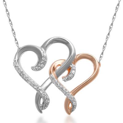 Hallmark Diamonds 1/10 CT. T.W. Diamond Double Heart Necklace