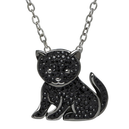 Animal Planet™ Crystal Sterling Silver Bombay Cat Pendant Necklace